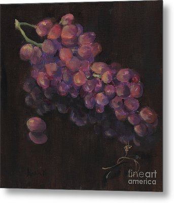 Grapes In Reflection Metal Print by Maria Hunt