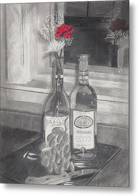 Grapes N Flowers Metal Print by Susan Schmitz