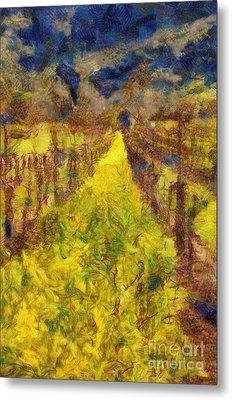 Grapevines And Mustard Metal Print by Alberta Brown Buller