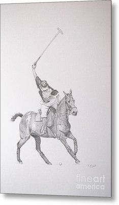 Graphite Drawing - Shooting For The Polo Goal Metal Print