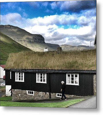 Grass Roof House In Faroe Islands Metal Print