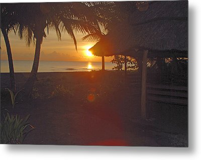 Grass Shack Sunrise Metal Print