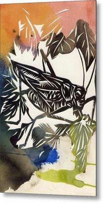 Grasshopper Papercut Metal Print by Alfred Ng