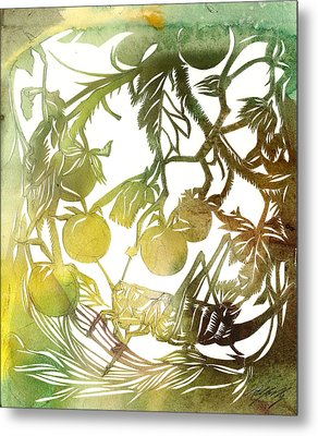 Grasshopper With Cherry Tomatoes  Metal Print by Alfred Ng