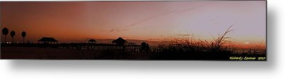Grassy After Glow At Pier 60 Panorama Metal Print