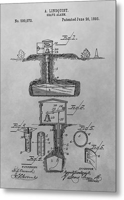 Grave Alarm Patent Drawing Metal Print by Dan Sproul