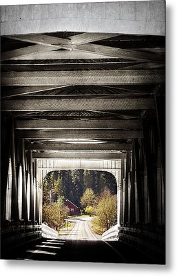 Grave Creek Covered Bridge Metal Print by Melanie Lankford Photography