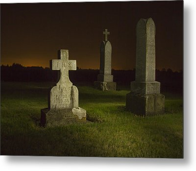 Gravestones At Night Painted With Light Metal Print by Jean Noren