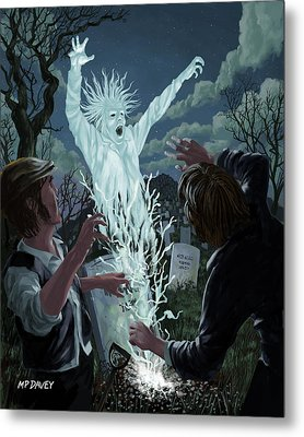 Graveyard Digger Ghost Rising From Grave Metal Print by Martin Davey