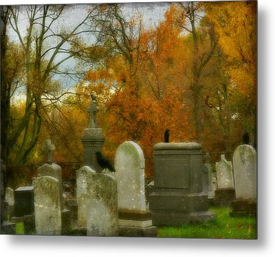 Graveyard In Fall Metal Print by Gothicrow Images