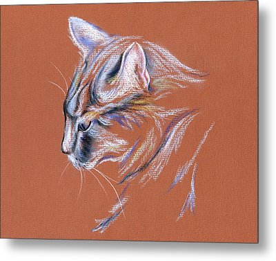 Metal Print featuring the pastel Gray Cat In Profile - Pastel by MM Anderson