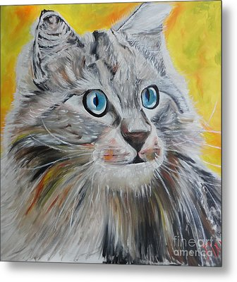 Metal Print featuring the painting Gray Cat by PainterArtist FIN