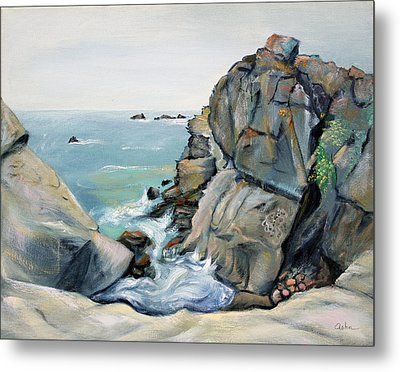 Metal Print featuring the painting Gray Rocks And Sky At Gerstle Cove by Asha Carolyn Young