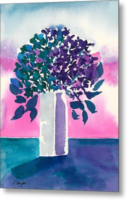 Metal Print featuring the painting Gray Vase by Frank Bright