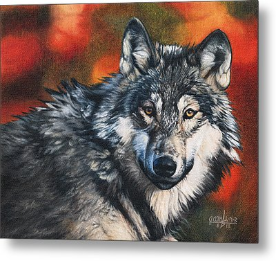 Metal Print featuring the painting Gray Wolf by Joshua Martin