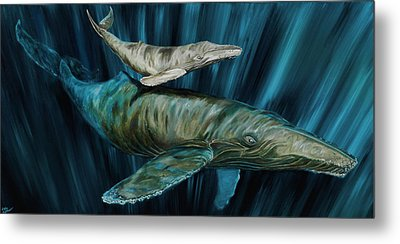 Graywhale Momma And Calf Metal Print