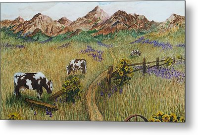 Grazing Cows Metal Print by Katherine Young-Beck
