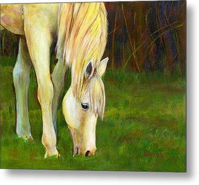Grazing Horse Metal Print by Blenda Studio