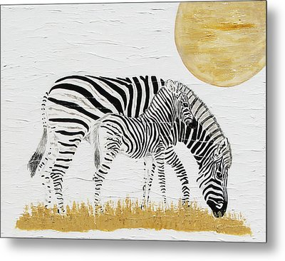 Metal Print featuring the painting Grazing Together by Stephanie Grant