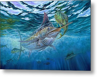 Great Blue And Mahi Mahi Underwater Metal Print by Terry Fox