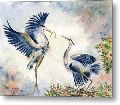Great Blue Heron Couple Metal Print
