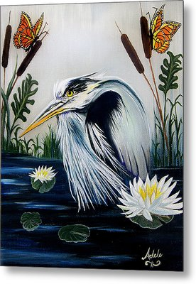 Great Blue Heron Happiness Metal Print by Adele Moscaritolo