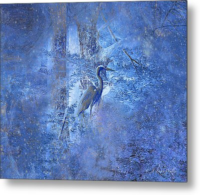Metal Print featuring the digital art Great Blue Heron In Cosmic Meditation by J Larry Walker