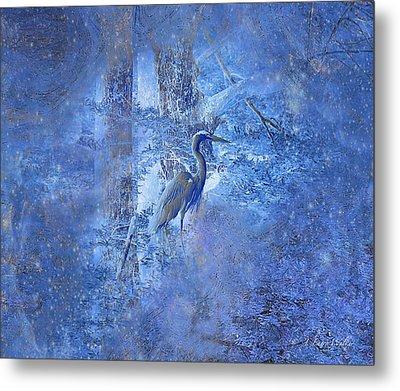 Great Blue Heron In Cosmic Meditation Metal Print by J Larry Walker