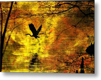 Metal Print featuring the digital art Great Blue Heron In Moment Of Suspense by J Larry Walker