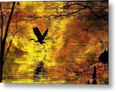 Great Blue Heron In Moment Of Suspense Metal Print by J Larry Walker