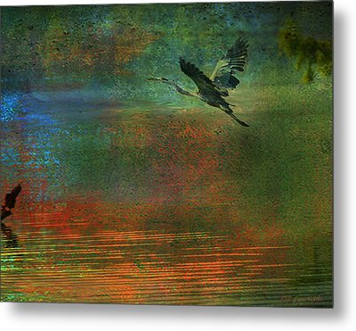 Metal Print featuring the digital art Great Blue Heron In Mystic Flight by J Larry Walker