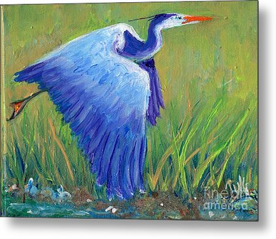 Metal Print featuring the painting Great Blue Heron Mini Painting by Doris Blessington