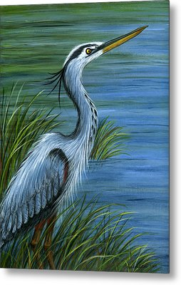Metal Print featuring the painting Great Blue Heron by Sandra Estes