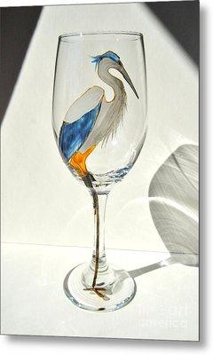 Great Blue Heron Wineglass Metal Print by Pauline Ross
