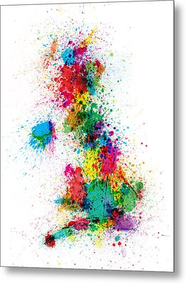 Great Britain Uk Map Paint Splashes Metal Print by Michael Tompsett