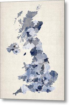 Great Britain Uk Watercolor Map Metal Print
