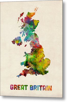 Great Britain Watercolor Map Metal Print by Michael Tompsett