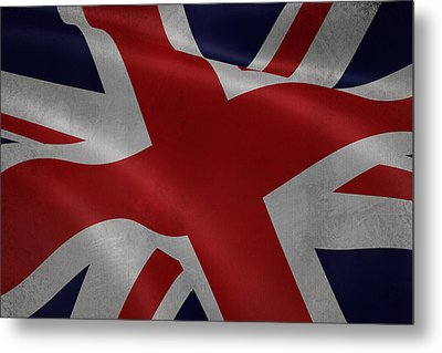 Great Britains Flag Waving On Canvas Metal Print by Eti Reid