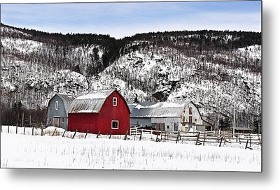 Great Canadian Red Barn In Winter Metal Print by Peter v Quenter