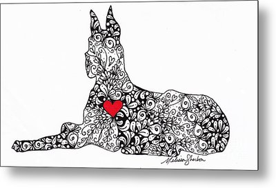 Metal Print featuring the drawing Great Dane by Melissa Sherbon