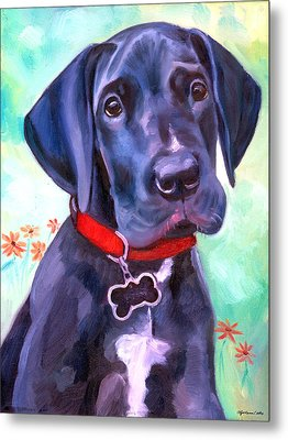 Great Dane Puppy Sweetness Metal Print by Lyn Cook