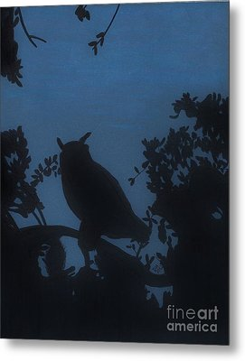 Metal Print featuring the drawing Owl At Night by D Hackett