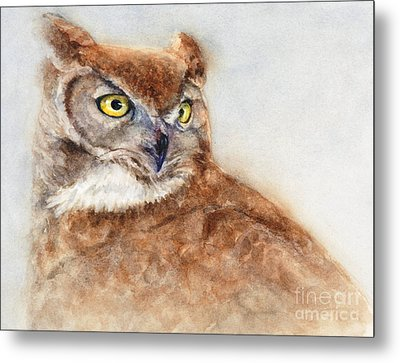 Metal Print featuring the painting Great Horned Owl by Bonnie Rinier