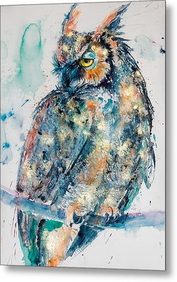 Great Horned Owl In Gold Metal Print by Kovacs Anna Brigitta