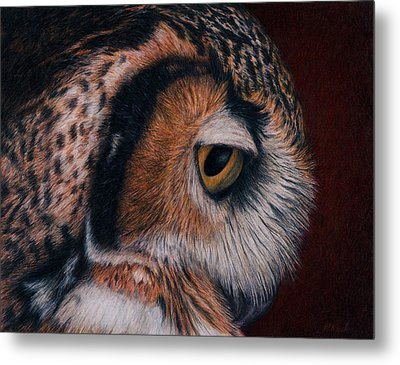 Metal Print featuring the painting Great Horned Owl Portrait by Pat Erickson