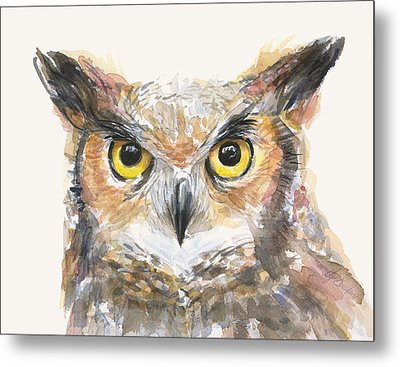 Great Horned Owl Watercolor Metal Print by Olga Shvartsur