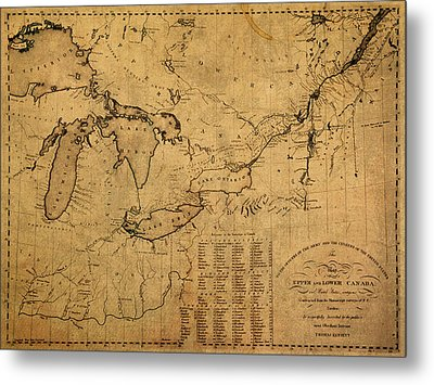 Great Lakes And Canada Vintage Map On Worn Canvas Circa 1812 Metal Print