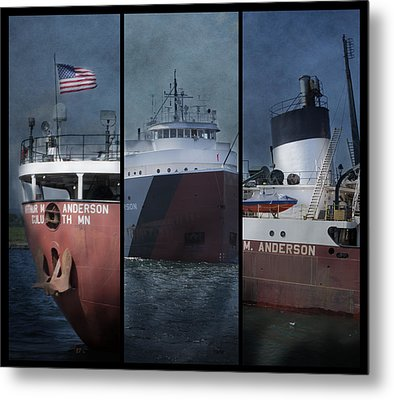 Great Lakes Freighter Triptych Arthur M Anderson Metal Print by Evie Carrier