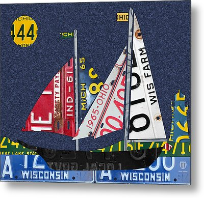 Great Lakes States Sailboat Recycled Vintage License Plate Art Metal Print by Design Turnpike