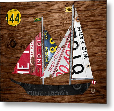 Great Lakes States Sailboat Recycled Vintage License Plate Art On Wood Metal Print